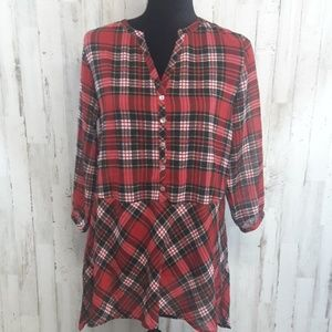 Tops - Red Plaid Tunic Top Buffalo Check Sheer High Low S